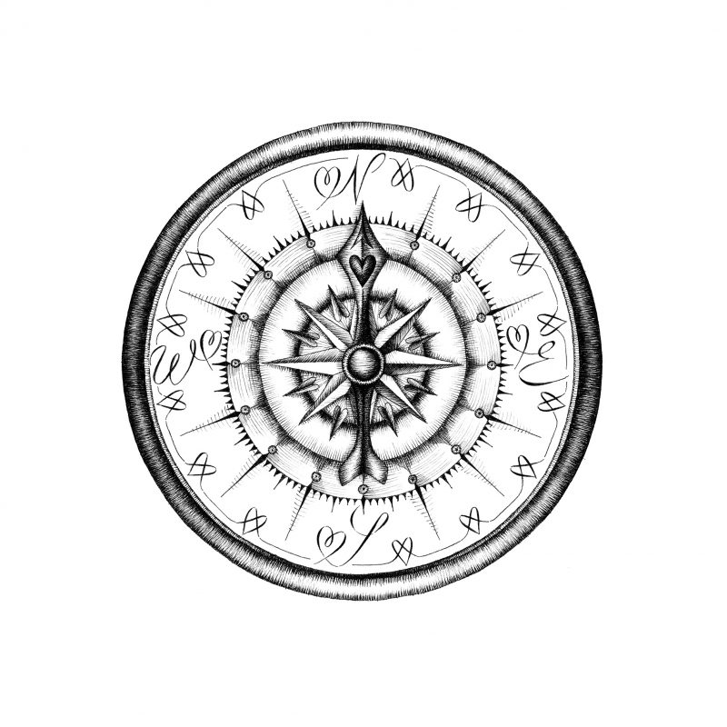 The Compass of Happiness brings you to the right place at the right time. It is based on a line drawing (pen).
